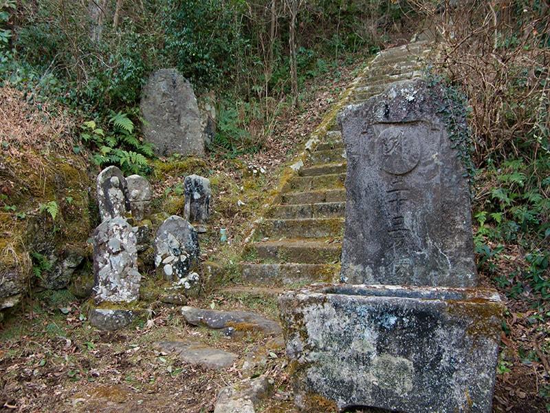 階段前の石