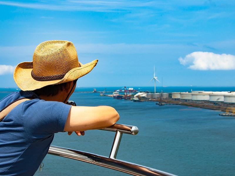 展望塔から鹿島港を見る人