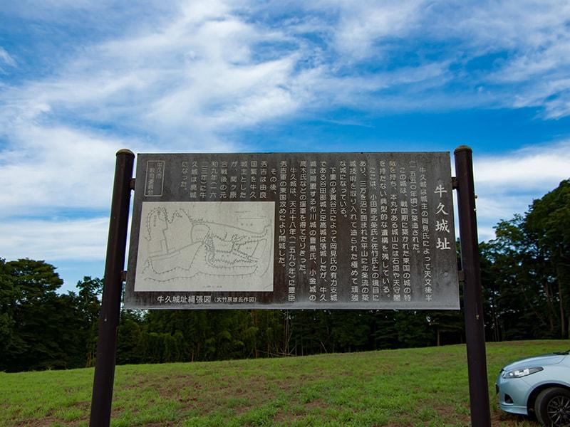 牛久城跡地の看板