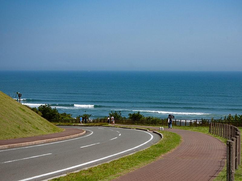 公園から海岸へ続く道