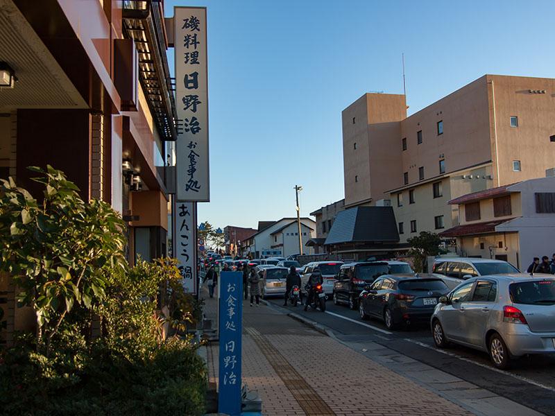 大洗磯前神社前の渋滞