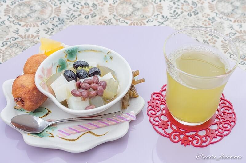 緑茶みつ豆と米粉とおからのドーナツ