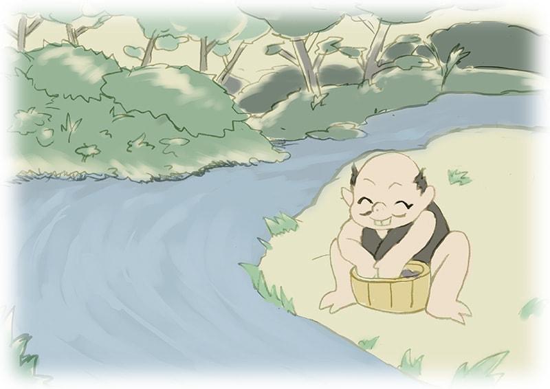 『小豆洗い』 Illustration by nann