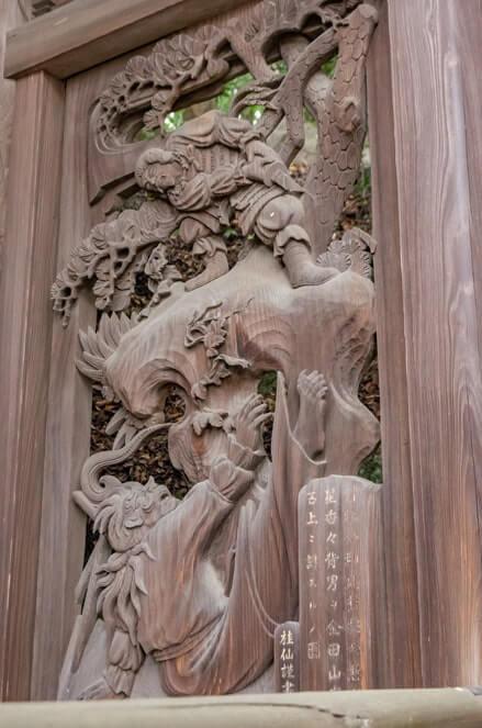 武葉槌命と香香背男の彫刻